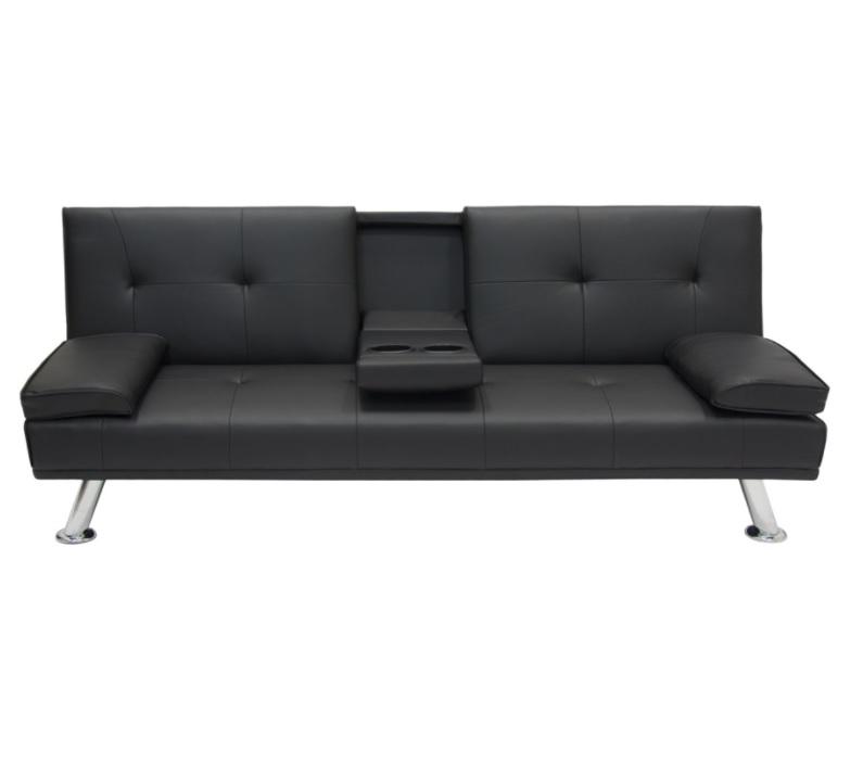 Canapea extensibila Cinemax, 3 locuri din piele, 167cm, culoare neagra - Siart