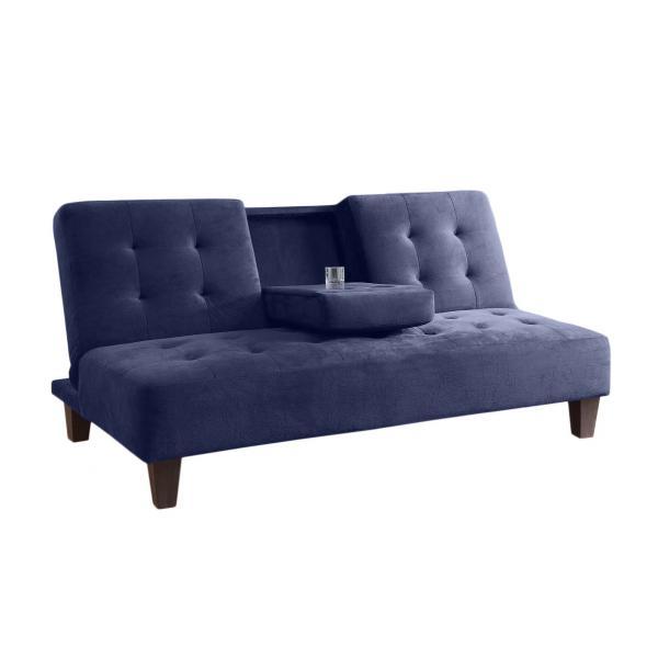 Canapea Sophia, extensibila cu 3 locuri, din catifea albastra, 178 cm - Siart